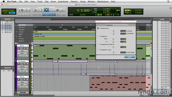 Editing MIDI data with Event Operations: Pro Tools 10 Essential Training