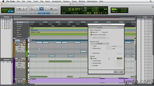 Quantizing MIDI tracks: Pro Tools 10 Essential Training