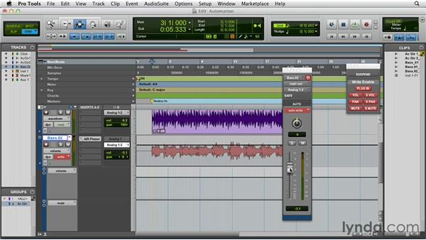 Writing and editing automation: Pro Tools 10 Essential Training