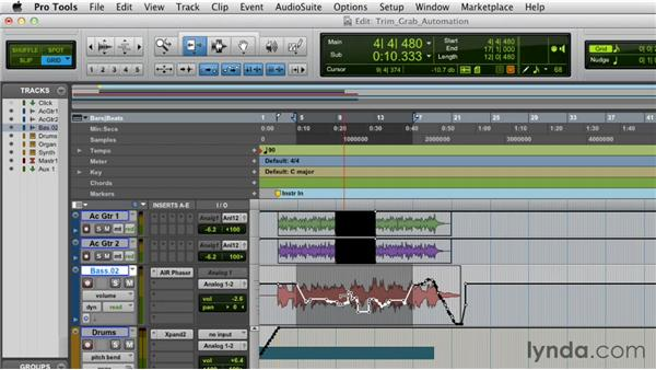 Editing automation with the Trim and Grabber tools: Pro Tools 10 Essential Training