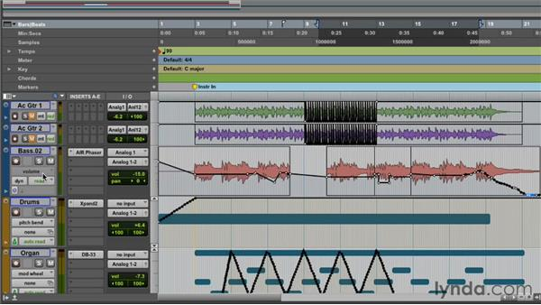 Turning automation on and off: Pro Tools 10 Essential Training