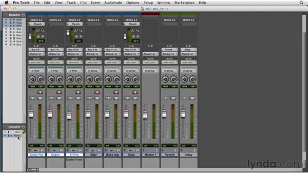 Setting up a session for mixing: Pro Tools 10 Essential Training