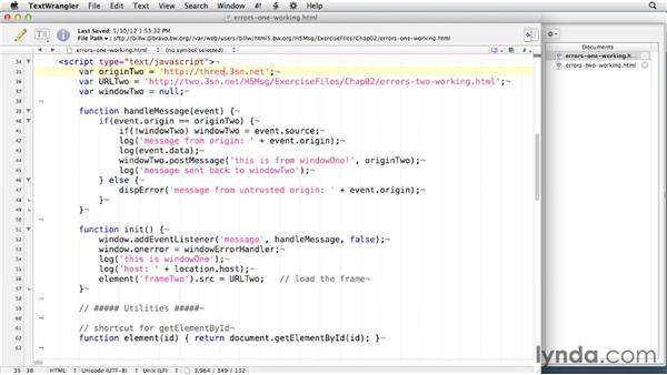 Handling errors: HTML5: Messaging and Communications in Depth