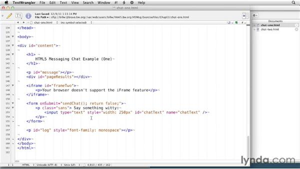 Exploring the example code: HTML5: Messaging and Communications in Depth