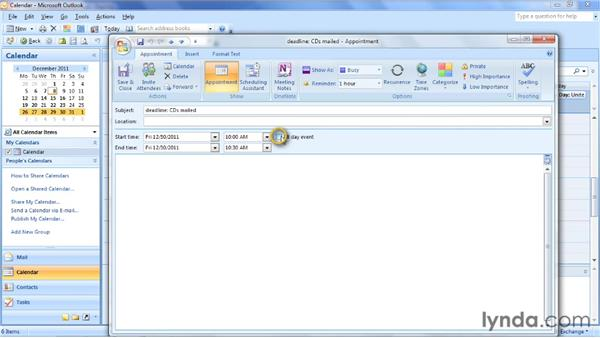 Capturing work in Outlook: Outlook 2007: Time Management with Calendar and Tasks