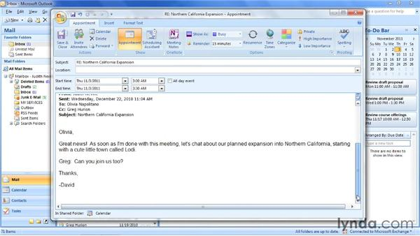 Creating an appointment from an email or contact: Outlook 2007: Time Management with Calendar and Tasks