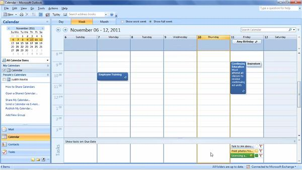 Using the Day, Week, and Month views: Outlook 2007: Time Management with Calendar and Tasks