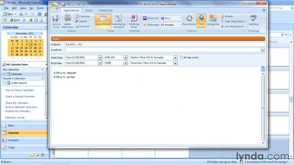 Showing time zones in an appointment: Outlook 2007: Time Management with Calendar and Tasks