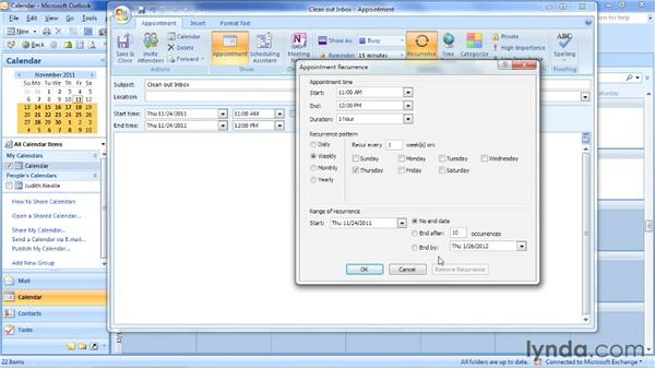Creating a recurring appointment: Outlook 2007: Time Management with Calendar and Tasks
