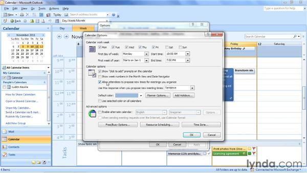 Setting calendar options: Outlook 2007: Time Management with Calendar and Tasks