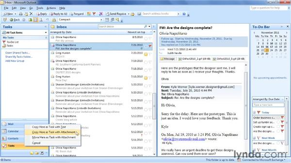Creating a task from an email: Outlook 2007: Time Management with Calendar and Tasks