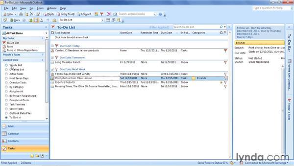 Delegating and tracking tasks: Outlook 2007: Time Management with Calendar and Tasks