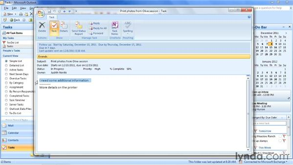 Completing a task and sending an update: Outlook 2007: Time Management with Calendar and Tasks