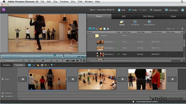 Adding, arranging, and deleting clips in the Sceneline: Premiere Elements 10 Essential Training
