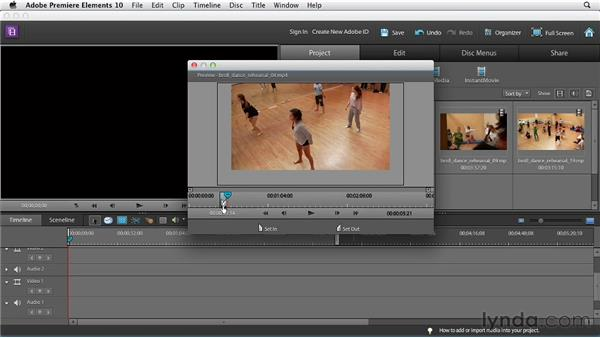 Adjusting clip length in the Preview window: Premiere Elements 10 Essential Training