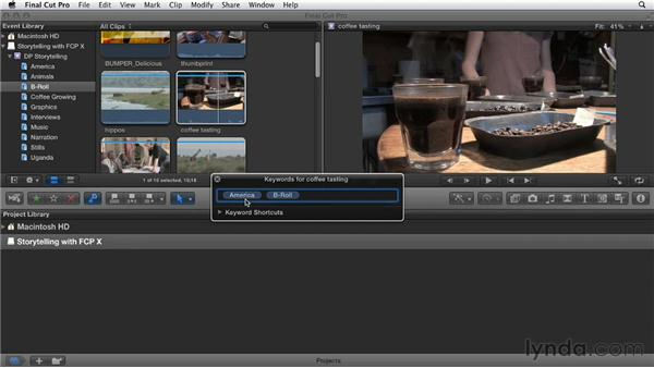 Importing folders and stills as keyword collections: Effective Storytelling with Final Cut Pro X v10.0.9