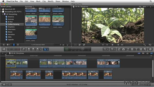 Organizing separate story segments into independent storylines: Effective Storytelling with Final Cut Pro X v10.0.9