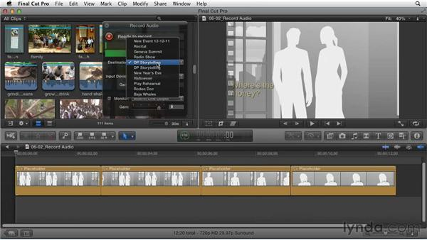 Recording a narration track to explore script ideas: Effective Storytelling with Final Cut Pro X v10.0.9
