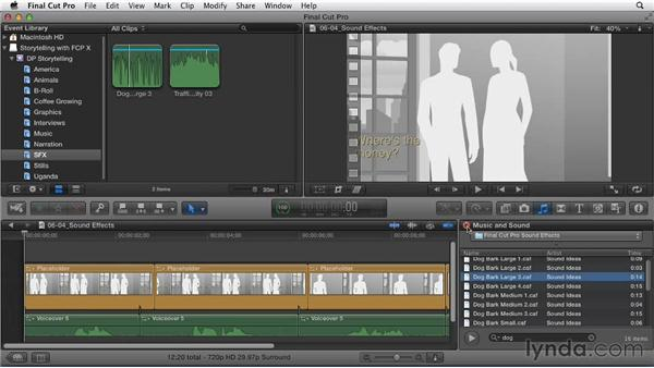Adding sound effects to create depth: Effective Storytelling with Final Cut Pro X v10.0.9