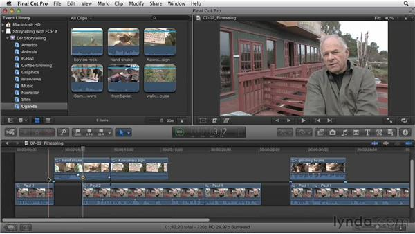 Finessing cutaways to enhance the story: Effective Storytelling with Final Cut Pro X v10.0.9