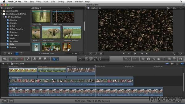 Editing and arranging a still-image storyline: Effective Storytelling with Final Cut Pro X v10.0.9