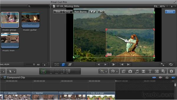 Applying the Ken Burns effect to still images: Effective Storytelling with Final Cut Pro X v10.0.9
