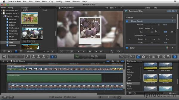 Applying effects to enhance story elements: Effective Storytelling with Final Cut Pro X v10.0.9