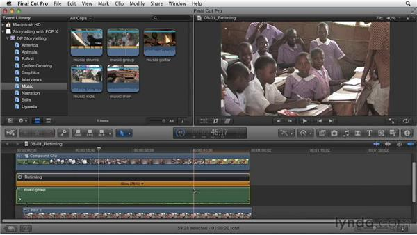 Retiming to lengthen or shorten music and clips: Effective Storytelling with Final Cut Pro X v10.0.9