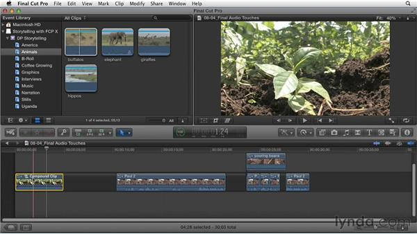 Audio finishing touches: Effective Storytelling with Final Cut Pro X v10.0.9