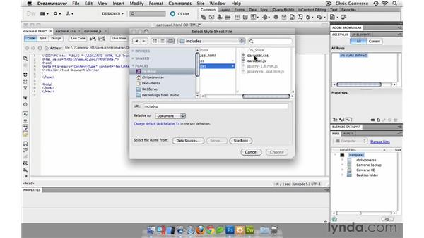 Creating the HTML, CSS, and JavaScript files: Create a Rotating Carousel with jQuery and Dreamweaver