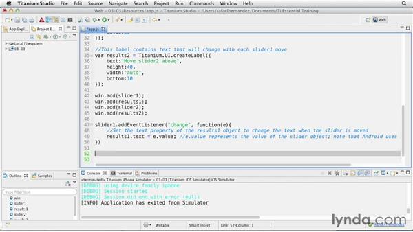 Creating a slider: Titanium Mobile App Development Essential Training