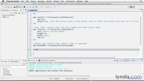 Creating a switch: Titanium Mobile App Development Essential Training