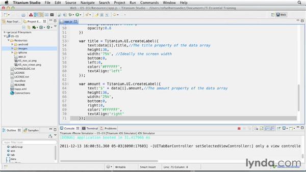 Creating custom table rows: Titanium Mobile App Development Essential Training