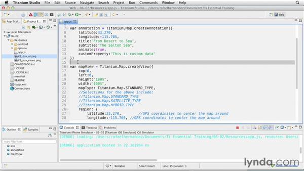 Creating simple annotations: Titanium Mobile App Development Essential Training