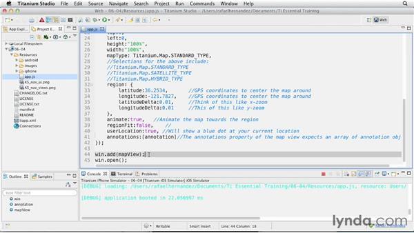 Creating and handling annotation buttons: Titanium Mobile App Development Essential Training