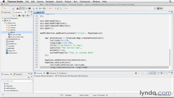Adding and removing pins at runtime: Titanium Mobile App Development Essential Training