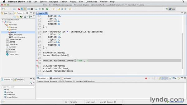 Examining Web View events and controls: Titanium Mobile App Development Essential Training