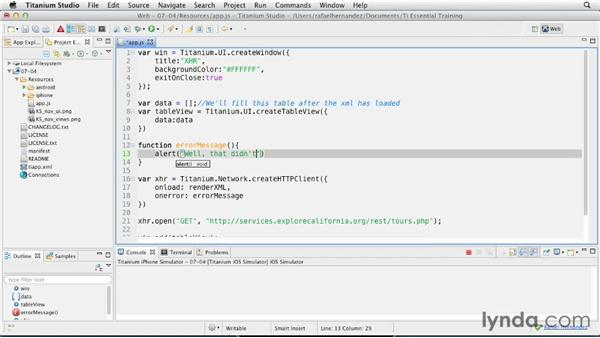 Loading an external XML feed: Titanium Mobile App Development Essential Training