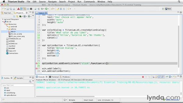 Providing feedback with an Option dialog: Titanium Mobile App Development Essential Training