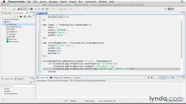 Setting custom application properties: Titanium Mobile App Development Essential Training