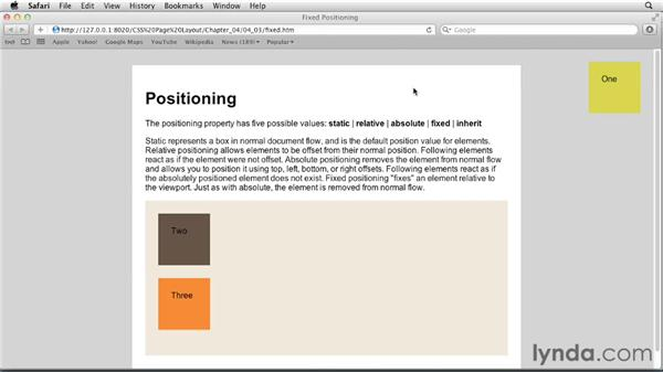 Fixed positioning: CSS: Page Layouts