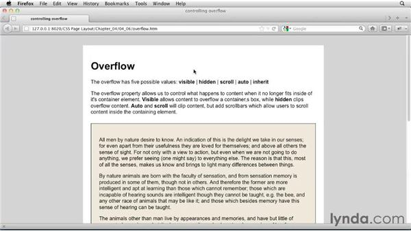 Controlling content overflow: CSS: Page Layouts