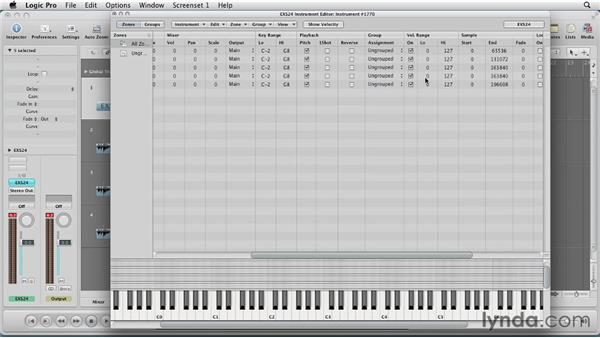Adding dynamics with velocity layers: Virtual Instruments in Logic Pro
