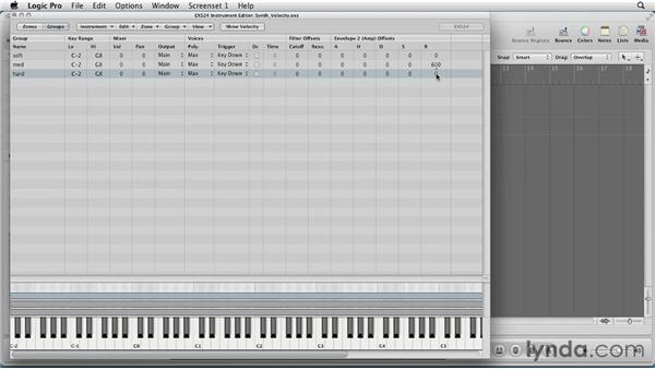Organizing zones with groups: Virtual Instruments in Logic Pro