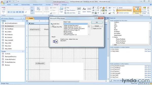 Attaching documents: Access 2007: Forms and Reports in Depth