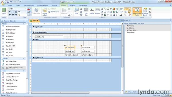 Building reports from queries: Access 2007: Forms and Reports in Depth