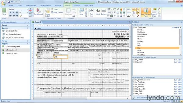 Populating pre-printed documents: Access 2007: Forms and Reports in Depth