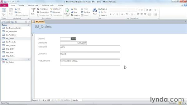 Creating a form with the Form Wizard: Access 2010: Forms and Reports in Depth