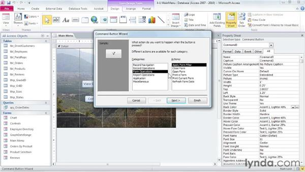 Creating the main menu: Access 2010: Forms and Reports in Depth