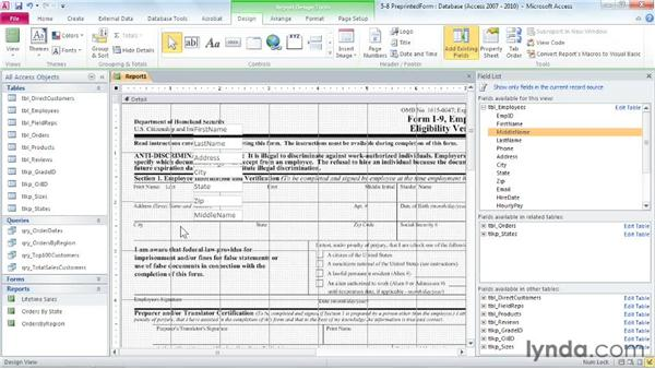 Populating pre-printed documents: Access 2010: Forms and Reports in Depth